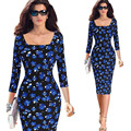 Dress vestidos de verão mulheres plus size elegante da cópia floral manga comprida túnica work business casual partido pencil dress