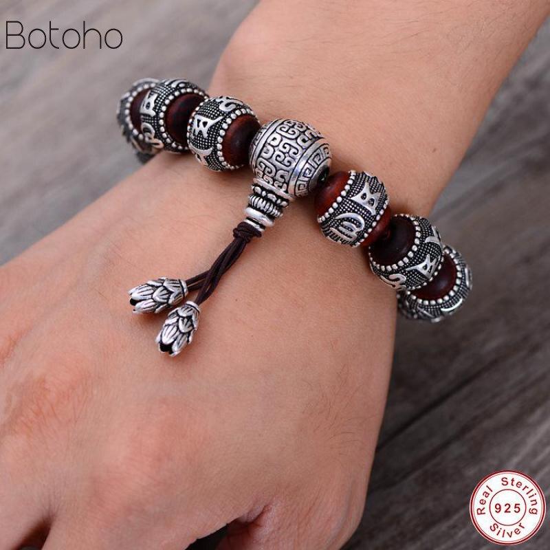 Tibétain Om Mani Padme Hum Bracelet naturel lobulaire rouge bois de santal incrusté 925 argent Sterling bouddha Mantra pour hommes femmes amoureux