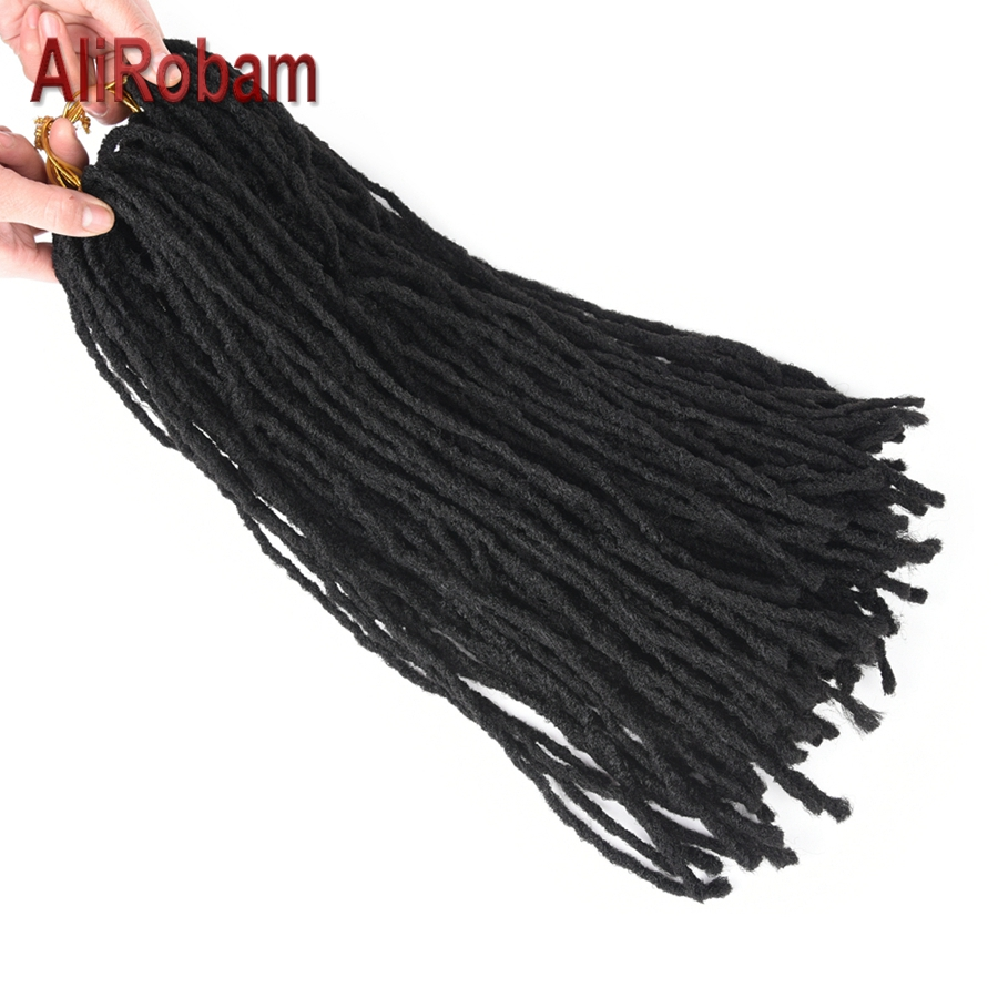 Home Alirobam 20inch Long Handmade Dreadlocks Crochet Braids Low Temperature Fiber Synthetic Braiding Hair Soft Dread Hair Extensions