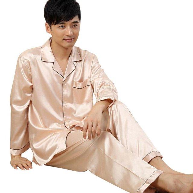New Autumn Winter Mens Sleepwear Loungwear Robes Soft Silk Satin Pajamas Pyjamas Set