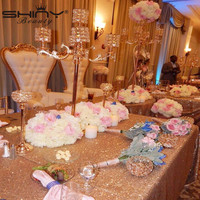 Customize Order 8 Pcs 14x108inch Rose Gold Sequin Table Runner And 2 Pcs Rose Gold 90x156inch