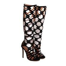 Лето сапоги Сандалии колено высокие сапоги Гладиатор Сандалии высокие каблуки обувь женщин насосы зашнуровать бедро высокие сапоги черный размер 4-9