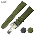 ZLIMSN Watchbands 20mm 21mm 22mm Stainless Steel Deployment Buckle Green Nylon with leather bottom Watch band Strap IWC101L