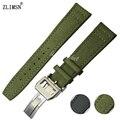 ZLIMSN correas de Reloj 20mm 21mm 22mm de Acero Inoxidable Hebilla del Despliegue de Nylon Verde con fondo de cuero Reloj Correa de La banda IWC101L