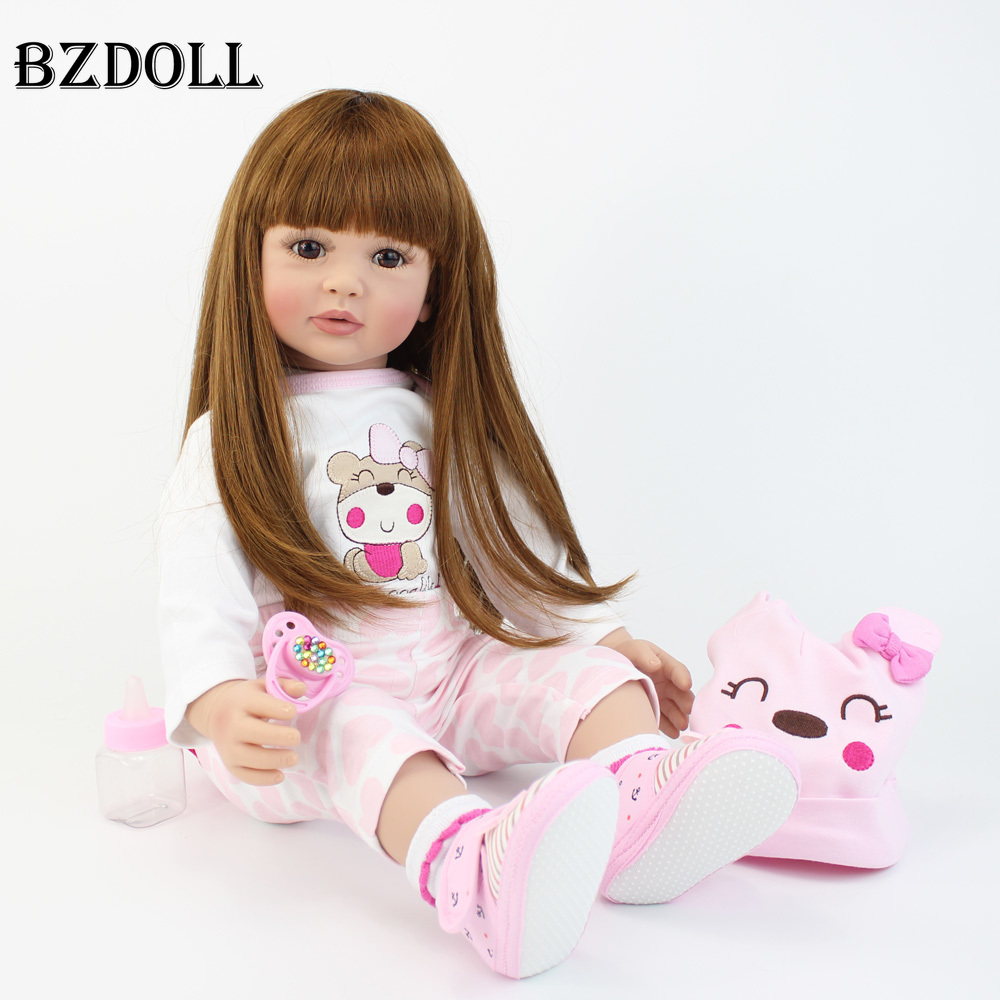 """60cm Reborn Doll Toddler Soft Silicone Viny Limbs 24"""" Princess Baby Alive Bebe Girl Lovely Birthday Gift Play House Toy(China)"""