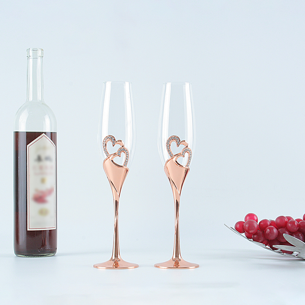 2019 hot sales wedding crystal champagne flutes rose gold metal stand wine glasses cup love gifts