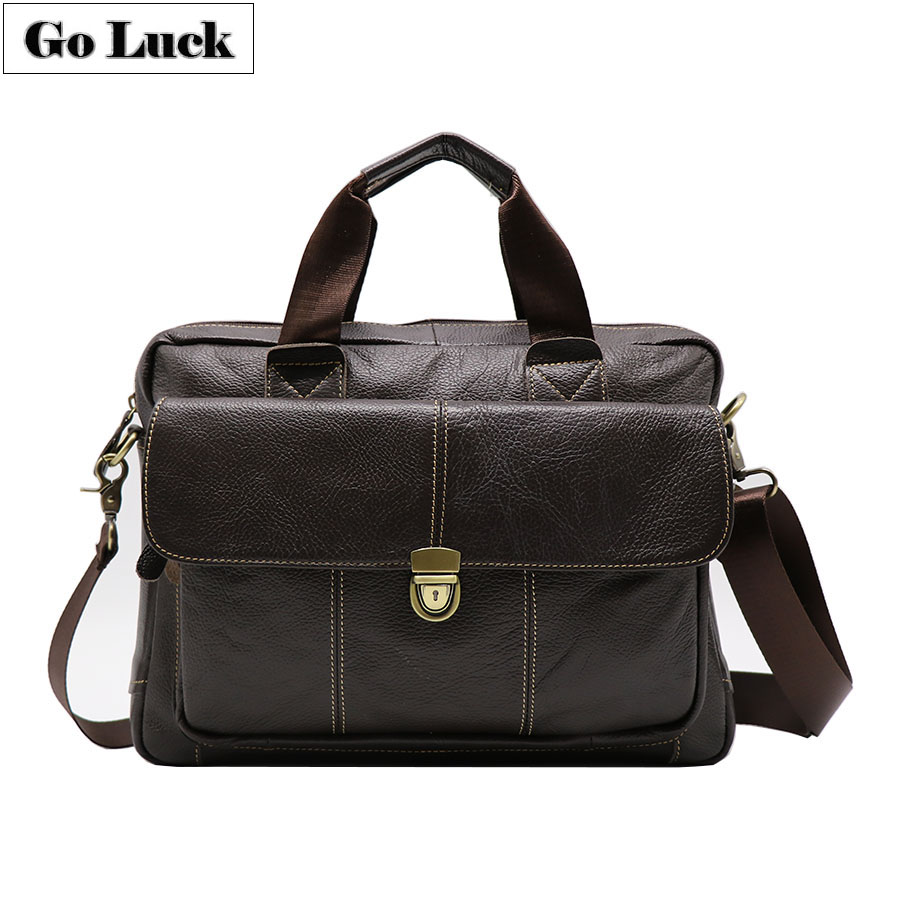 Genuine Leather Business 14 Computer Briefcase Portfolio Top handle Handbag Men Shoulder Crossbody Bags Men s