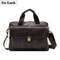 Genuine Leather Business 14' Computer Briefcase Portfolio Top handle Handbag Men Shoulder Crossbody Bags Men's Messenger Bag