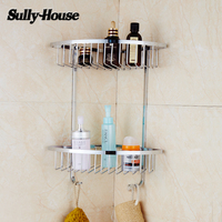 Sully House Bathroom 304 Stainless Steel Corner Basket Shelf Double Rack With Two Hook Bathroom Holder