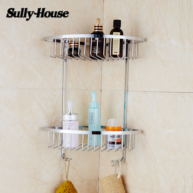 Sully House 304 Stainless Steel Bathroom Corner Basket Shelf,Dual Tier  Shelves With 2 Robe