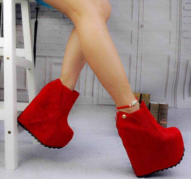 12-free shipping 2016 European new vogue shoes women ankle boots fashion thick sole wedges extremly high heeled short boot 16cm