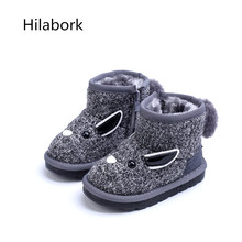 Warm children's 2016 Winter new fashion low-tube wild male and female plush snow boots high-quality knitted cowhide boots