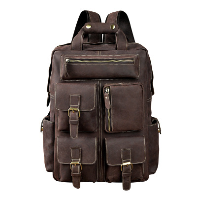 Crazy Horse Leather Retro Mens Large-Capacity 14-Inch Backpack Button Chain Multi Compartment Shoulder Bag Crazy Horse Leather Retro Mens Large-Capacity 14-Inch Backpack Button Chain Multi Compartment Shoulder Bag