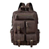 Crazy Horse Leather Retro Men's Large Capacity 14 Inch Backpack Button Chain Multi Compartment Shoulder Bag