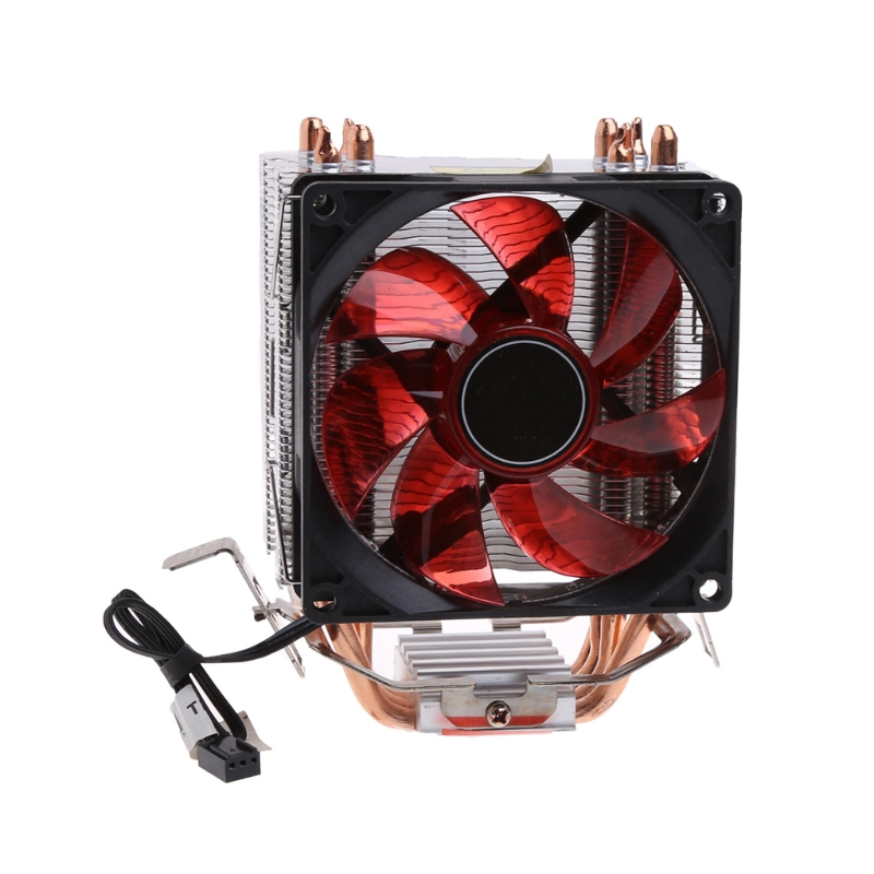 4 Heatpipe 130W Red LED CPU Cooler Fan Aluminum Heatsink For Intel 1156 AMD AM2 - L059 New hot 2016 new ultra queit hydro 3pin fan cpu cooler heatsink for intel for amd z001 drop shipping