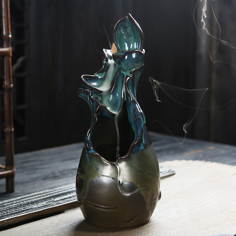 Incense Burner Creative Home Decor kiln transmutation Censer Backflow Incense Burner Use In Home Teahouse yoga +20 pcs incenses