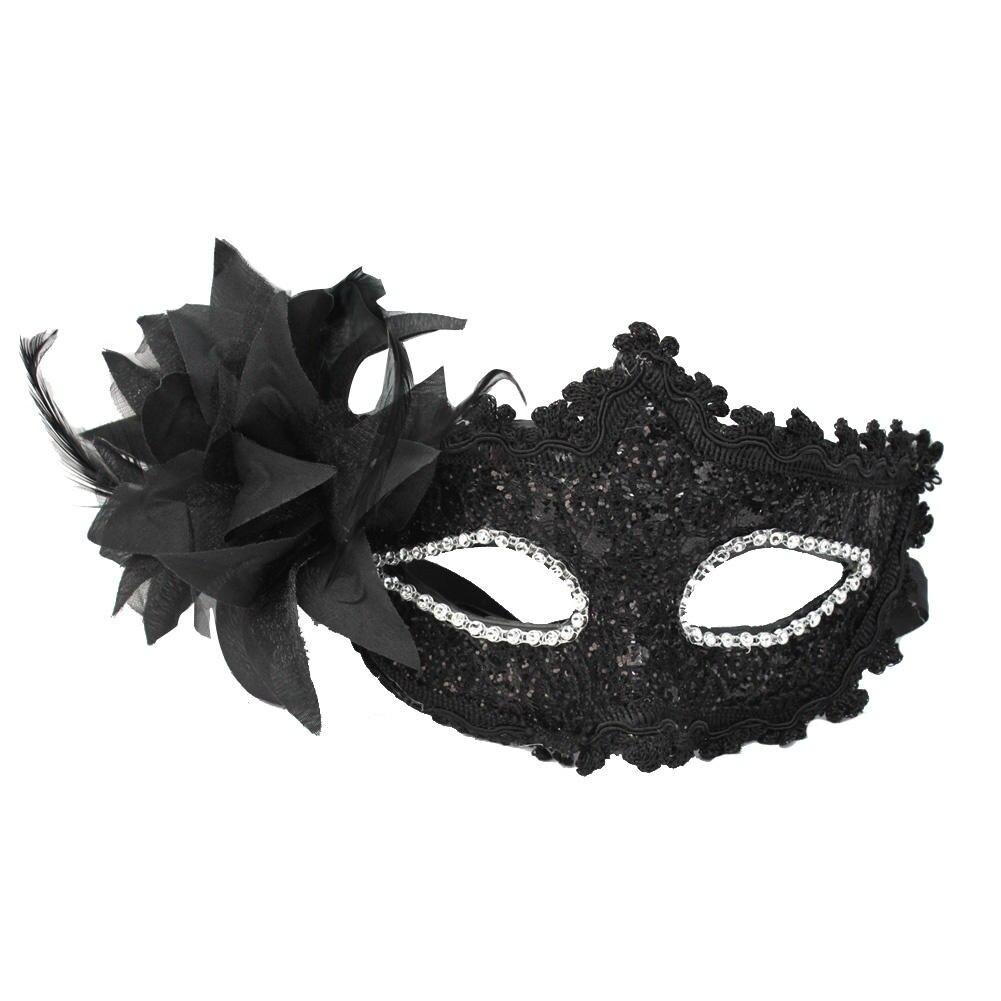 fashion women sexy black lace flower half face eye mask party dance ball masquerade halloween fancy - Black Eye Mask Halloween