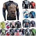 Homens Camisas para Homem Moda 3D Impressões Completos Calças de Pele de Compressão Muscular Homens Rashguard Manga Longa Tshirt dos homens Jovens espírito