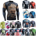 Men Compression Shirts for Male Fashion 3D Full Prints Skin Tights Muscle Men Rashguard Long Sleeve Men's Tshirt Young Spirit