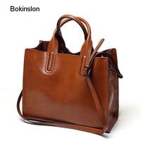 Bokinslon Handbag Woman Bags Solid Color Split Leather Women Big Bags Large Capacity Practical Female Crossbody Bags