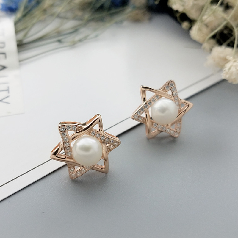 New Sterling Silver Pearl Stud Earrings Mounts S925 Inlaid Zircon Pentagram Earrings Girl Jewelry Gift цена