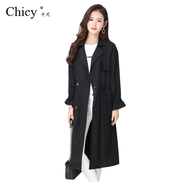 Chicy Long Trench Coat For Women Korean Style Autumn Thin Coat Fashion Long Sleeve Mid-long Windbreaker Coats Plus Size 6XL 1810