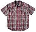 Plus size masculino versão européia do parágrafo na motocicleta 100% algodão grade quadrada vermelha camisa 1388