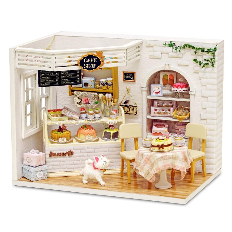 H-014 bolo diário loja diy hnadmake dollhouse com capa de música luz casa modelo melhor presente de brinquedo para presente amigo