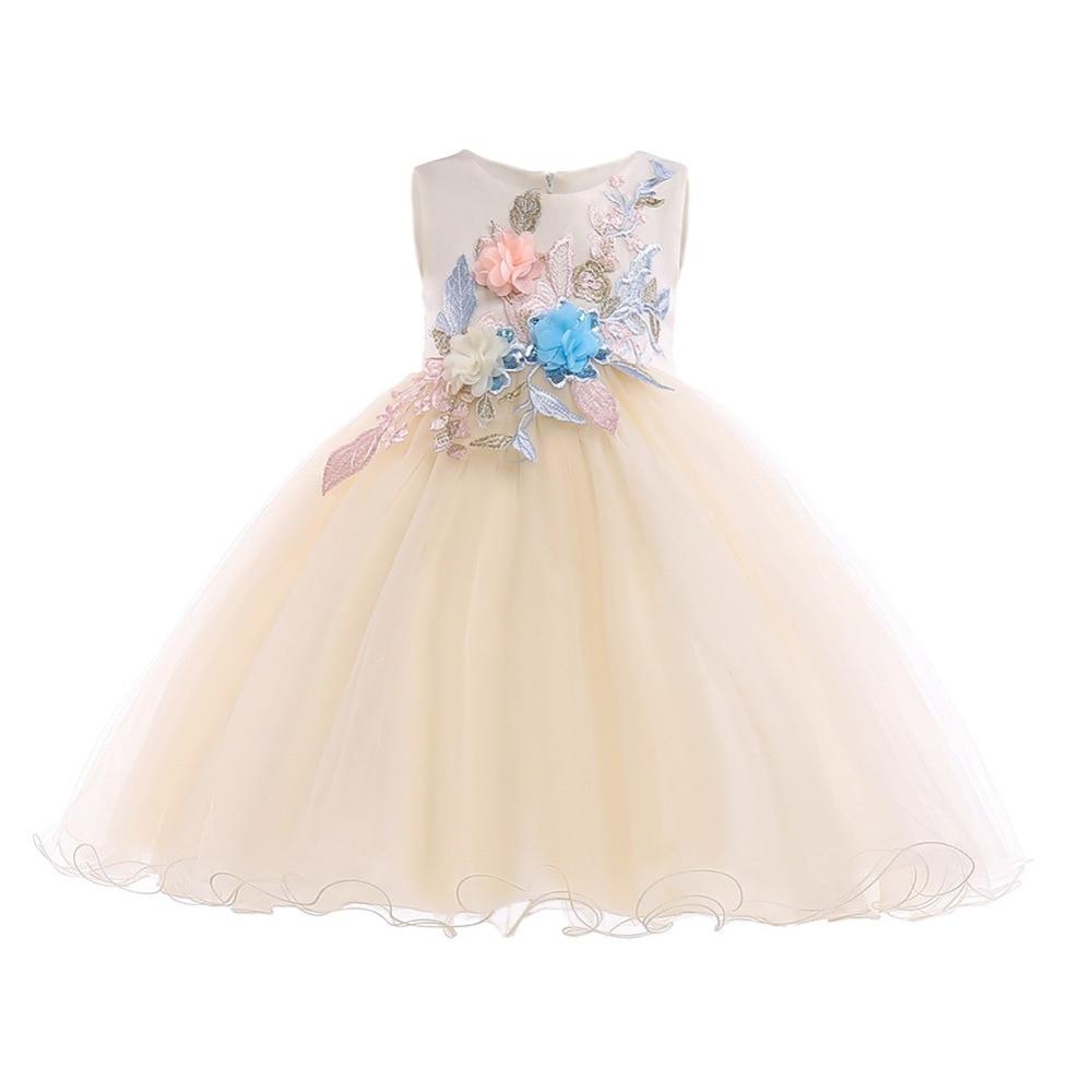 2019 Cute Baby Kids Children Dress for Girls Tulle Ball Gown Flower Girls Wedding Dress Birthday Party Princess Dresses Girls