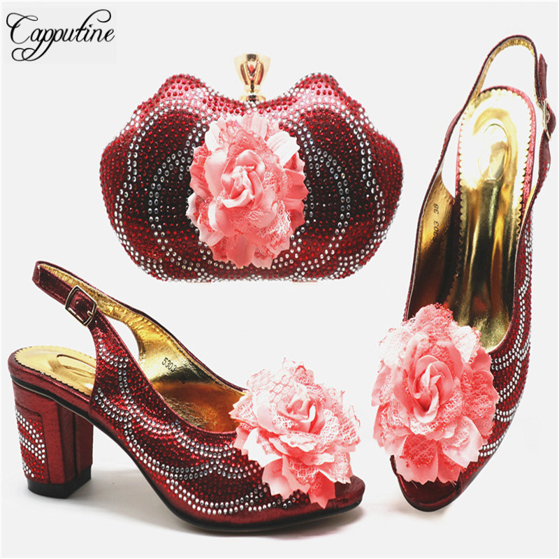 Italian Decorated With Rhinestone Woman Shoes And Bag Set Hot Nigerian Style Middle Heels Shoes And Bag Set For Party G67 Italian Decorated With Rhinestone Woman Shoes And Bag Set Hot Nigerian Style Middle Heels Shoes And Bag Set For Party G67