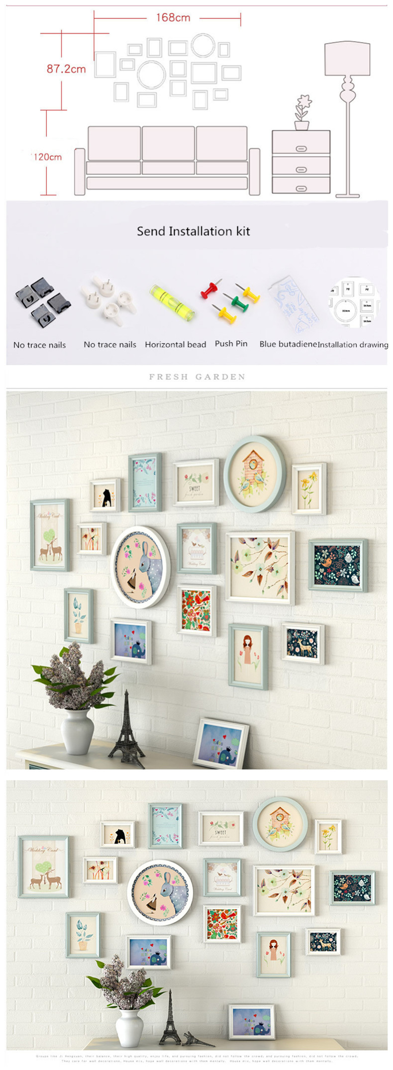 Home & Garden Modern Cute Pattern Wall Hanging Photo Frames Set 11pcs Wooden Picture Frames Suit Sofa Bed Livingroom Wall Decor Photo Frame