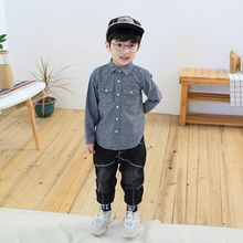 2019 New Children Spring Autumn Long sleeves Lapel shirt. 3-7 years old boy gray tops.