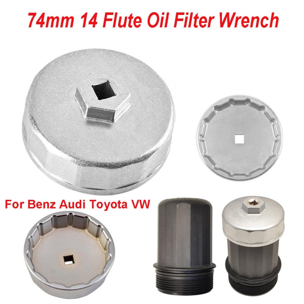 sourcingmap Car Aluminum 14 Flutes 74mm Cap Oil Filter Socket Wrench Tool