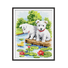 Joy Sunday A White Dog Diamond Embroidery Animal Icon 5D Painting Full Drill Square Picture of Rhinestones Wall Pictures