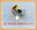 Liter energy battery 3.7 В батарея лития полимера 301033 100 мАч MP4 MP3 Bluetooth наушники небольшой игрушки звукозаписи пера