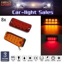 Keyecu 8pcs Lot Red Amber 8 LED Car Truck Lorry Trailer Side Marker Lights Indicator Lamps