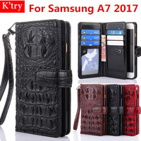 3D Alligator Crocodile Skin Pu Leather Conque For Samsung Galaxy A7 2017 Luxury Wallet Flip Cover