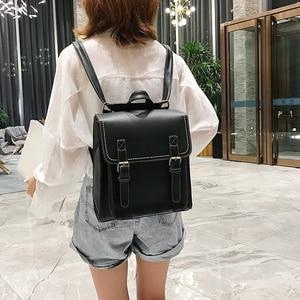 Image 4 - Vintage Backpack Female Pu Leather Bag Womens Backpack Fashion School Bag for Girls High Quality Leisure Shoulder Bag Sac A Dos