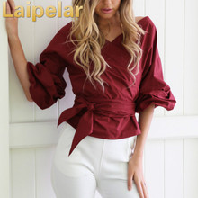 2018 Women Shirts Blouses Long Sleeve Sexy Off-the-shoulder V-neck Shirt Ladies Solid Blouse Tops OL Office Style Chemise Femme 2019 hot sale spring women shirts tops long sleeve bow collar solid ladies chiffon blouse tops ol office style chemise femme
