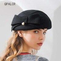 QPALCR 2018 Winter Felt Hats High Quality Wool Fedoras Hat Women Formal Fascinator Hat Bowknot Pillbox Hat Party Headwear Beret