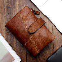 New Vintage Genuine Leather Men Wallet Zipper Pockets For Cards Coin Cow Leather Purses Men Fashion Card Holders For Men Wallets