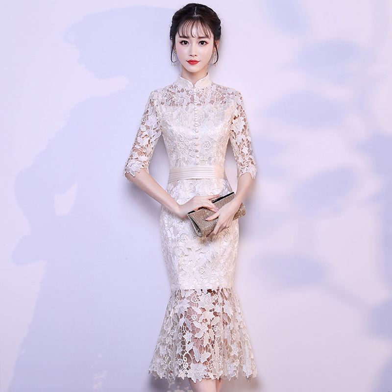 Summer New Classic Evening Party Dress Gown Qipao Elegant Mermaid Young Girls Cheongsam Sexy Slim Lace Vestidos De Festa