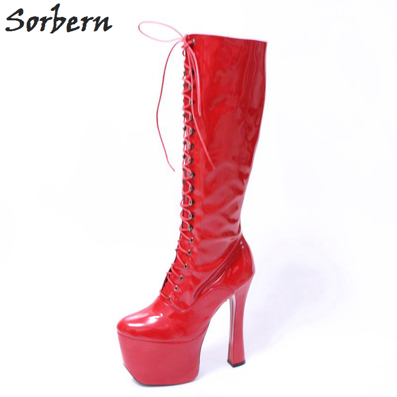 Sorbern Extreme Chunky Heel Boots Women Custom Color Woman Shoes 2018 Spring Fetish High Heels Punk Boots Platform Ladies Heels