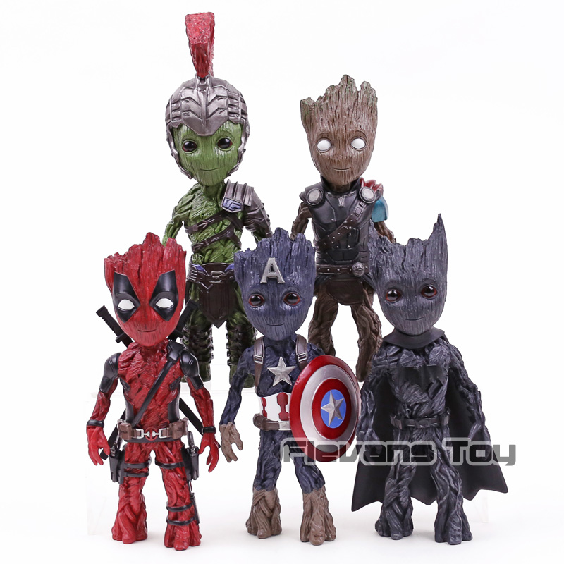 Marvel Gardiens de La Galaxy Arbre Homme Cosplay Captain America Thor Hulk Deadpool Batman PVC Figure Collection Modèle Jouet