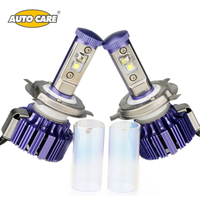 AutoCare Newest H4 LED Car Headlight High Low 40W 4000LM White 6000K Replacement Car Styling Purple Color Unique Style Headlight