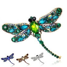 Mode Kilauan Berlian Imitasi Besar Dragonfly Bros Korsase Alloy Syal Bros Pin(China)