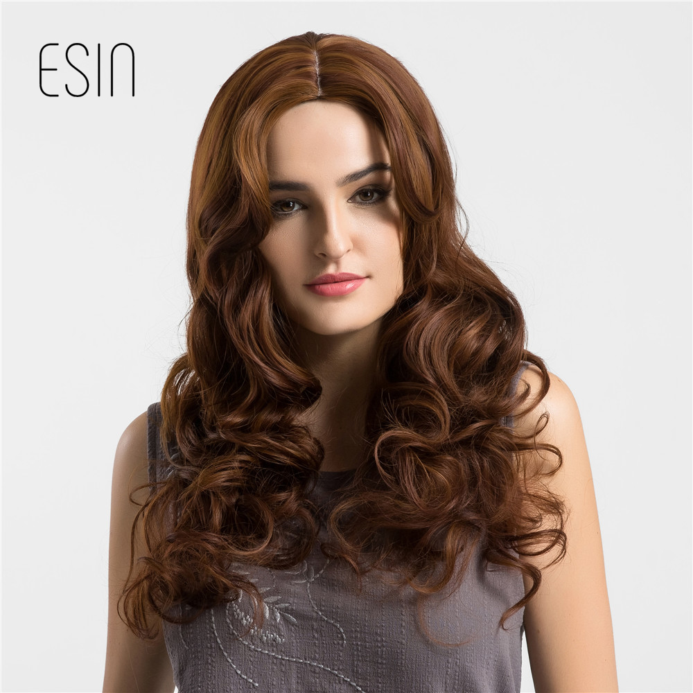 Esin Auburn Color Middle Part 28″ Long Wavy 130% Density Synthetic Wigs For Black/White Women Trendy Cosplay Hair Female Wigs