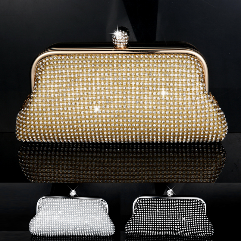Free Shipping  Diamond Clutch Bag Shoulder/Hand Chain Rhinestone Women Evening Bags Purse Silver Gold Black Color  luxury gold silver evening purse women pink pu leather pearl hand bag chain shoulder clutch bags handbag bolso handtassen xa841h