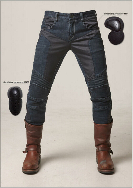 newest UglyBROS JUKE mesh summer jeans motorcycle jeans fashion jeans man jeans motor pants blue