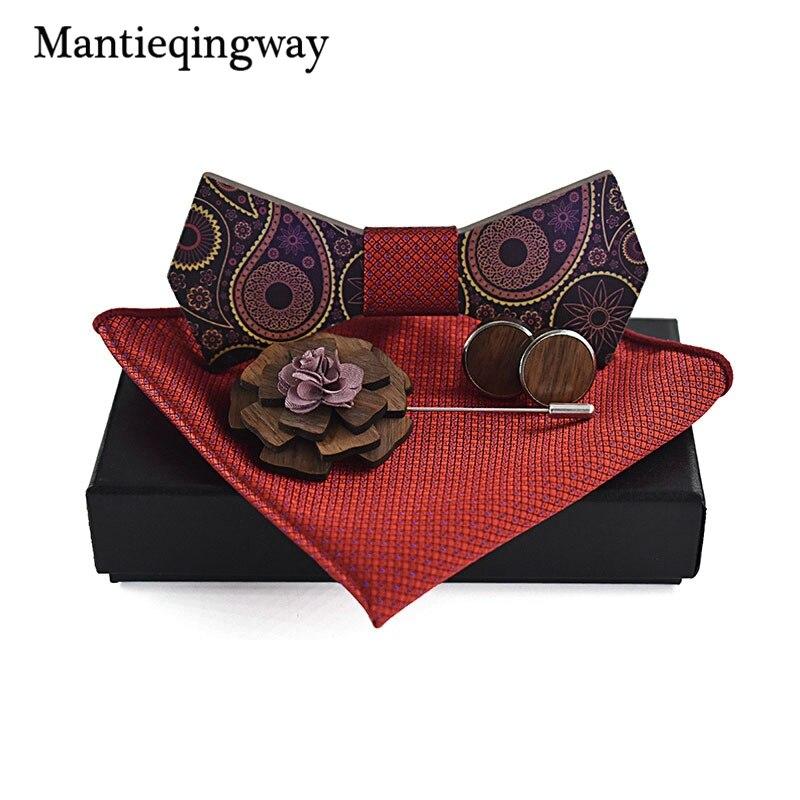 Mantieqingway Classique Bois Bowtie + Mouchoir + Broche + Jeux de boutons de Manchette pour Hommes Costume En Bois Arc Cravate Bowknots De Noce liens